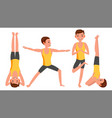yoga man poses set male yoga figures vector image