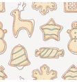 Hand drawn gingerbread cookies seamless pattern vector image