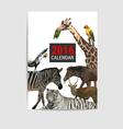 2016 calendar cover animal polygon vector image vector image