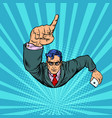 a businessman with a smartphone index finger up vector image
