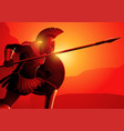 ancient greek warrior in ready to fight position vector image