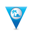 beach icon on map pointer blue vector image