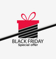 black friday gift box with ribbon isolated on vector image