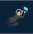 businessman in suit and astronaut helmet flying in vector image vector image