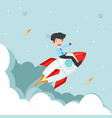 businessman sitting on on a flying rocket vector image vector image