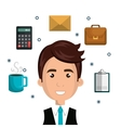 cartoon man face multitask design vector image