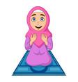 cartoon muslim woman praying on prayer rug vector image vector image