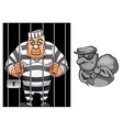 Cartoon prisoner in jail and robber in mask vector image