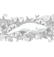 coloring page with whale in sea on flower vector image