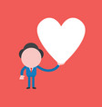 concept businessman character holding heart vector image vector image