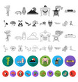 country japan flat icons in set collection for vector image