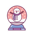 crystal ball with snowman decoration merry vector image vector image