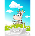 cute cow sitting on green grass with milk splash vector image