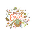 cute easter banner vector image vector image