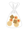 delicious cookies bag isolated icon design vector image