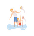 father and his son catching fish with fishing net vector image vector image