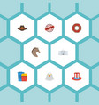 flat icons horse bird cowboy and other vector image vector image