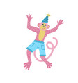 flat monkey in cute cartoon animal for vector image