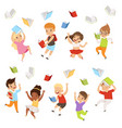 flat set of cartoon children characters vector image