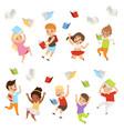 flat set of cartoon children characters vector image vector image