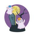 halloween ghosts cartoons vector image vector image
