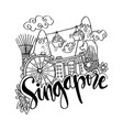 hand drawn symbols of singapore vector image
