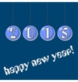 happy New Year greeting on Christmas blue balls vector image vector image
