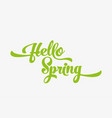 hello spring green stylized calligraphic vector image vector image
