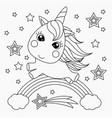 little unicorn on a rainbow design for children vector image