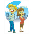 man and women crossing hand vector image