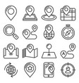 map and location icons set on white background vector image vector image