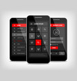 mobile phones ui red buttons vector image