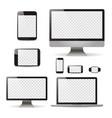 mockup set realistic monitors laptop tablet and vector image vector image