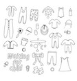 outline set of baby clothes for newborns vector image