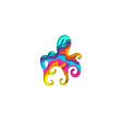 paper cut octopus shape 3d origami vector image