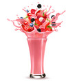 pink berry juice splash whole and sliced vector image vector image