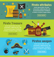 pirate attribute banner horizontal set flat style vector image vector image