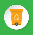 recycle bin icon in flat style on round button vector image
