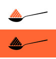 red and black caviar in a spoon simple symbol vector image vector image
