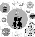 Round frame with Valentine elements vector image vector image