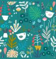 seamless pattern with flowers in pots palm branch vector image vector image
