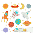 set of cute outer space elements vector image vector image