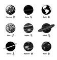 set of monochrome planet icons with names