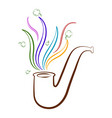 sketch of a tobacco pipe with smoke and clovers vector image