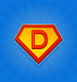 superhero logo icon with letter d on blue vector image