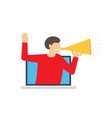 the message through a megaphone vector image vector image