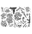 vintage tattoos set vector image vector image