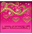 pink postcard on Valentines day with pendants vector image