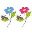 Cute smiling cartoon caterpillar on fresh green vector image