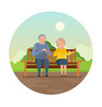 grandparent are sitting on bench in park vector image